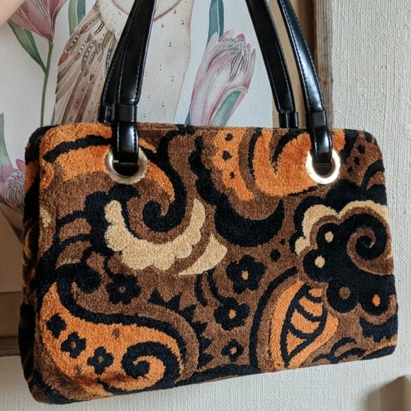 Vintage Handbags - Vintage 60's plush carpet bag